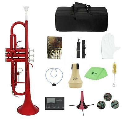 Bb Brass Trumpet B Flat w/ Hard Case Care Kit Tuner for Student Band Beginner