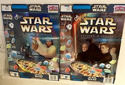 Star Wars EPISODE II General Mills Empty Cereal  EDITION 1&2 Boxes