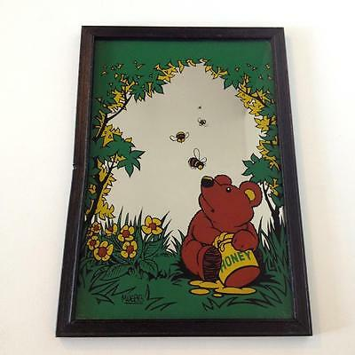 Vintage Retro Child's Wall Mirror Teddy Bear Honey Bees M Webb 70's 32  x 22cms