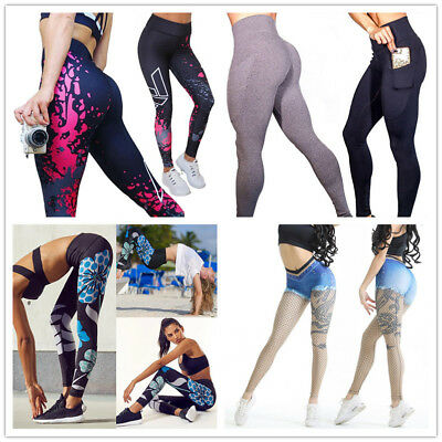 Womens YOGA Workout Gym Printed Sports Pants Leggings Fitness Stretch Trousers