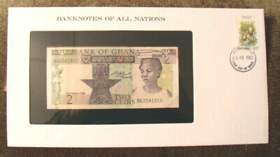 Banknotes of All Nations Ghana 1982 2 Cedis  P18d UNC Prefix BG