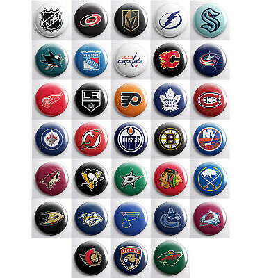 """NHL pinback buttons - hockey team pin badges - 32 total 1"""" pins"""
