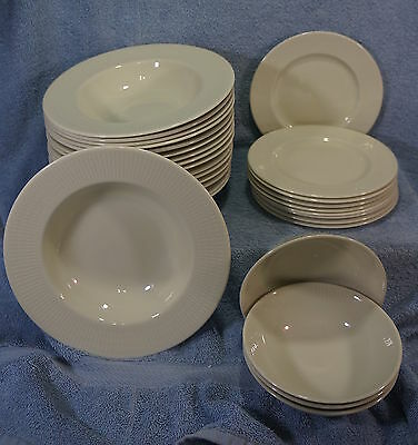 Royal Doulton White Rice T.C.1012-Lot of 29 Pieces-Rimmed Soup, Berry Bowls, B&B