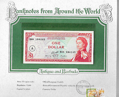 World Banknotes Antigua East Caribbean States 1 Dollar 1965 Gem UNC P13h B88