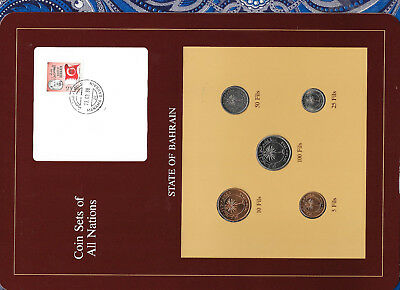 Coin Sets of All Nations Bahrain w/card all 1965 UNC 100, 50, 25, 10, 5 Fils