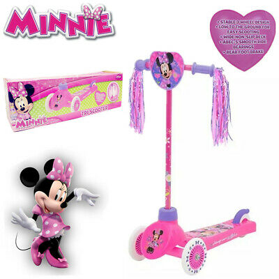 Disney Minnie Mouse Tri Scooter Toddler Junior Kid Push Kick 3 Wheel Ride On Toy