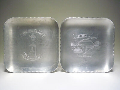 Fredrikstad Norway 2x aluminium plate, ashtray, souvenier ....