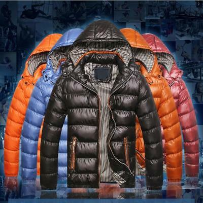 Men's Warm Hooded Quilted Puffer Coat Detachable Padded Down Jacket Outwear B