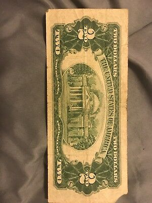 1953 Red Seal $2 Two Dollar Bill Circulated