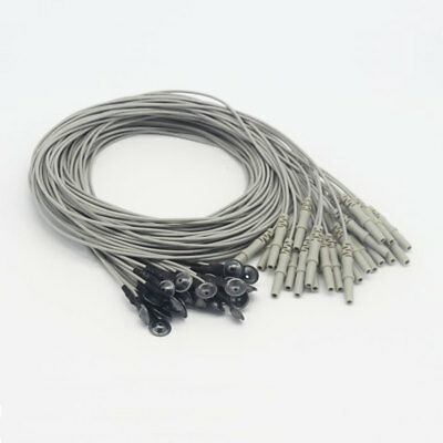 20pcs 1m Silver Chloride Plated Copper Electrode EEG Cable with DIN 1.5 Socket