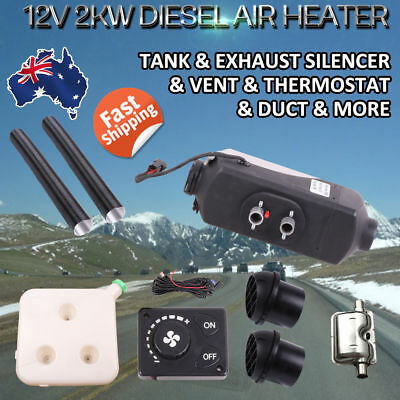 5KW 12V Diesel Air Heater Tank Remote Control Y-Pieces Filter Digital Thermostat