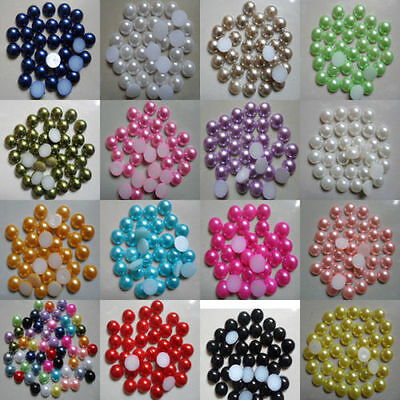 2000 PCS 8mm Half Round Pearl Bead Flat Back Size Scrapbook for Craft Pick colo