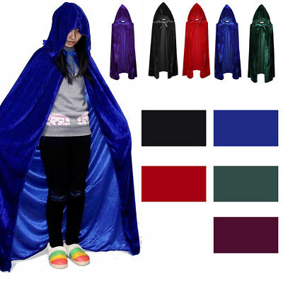 Velvet Hooded Cloak Medieval Pagan Witch Vampire Wiccan Halloween Costume