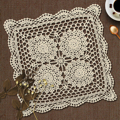 Lace Tablecloths Crocheted Cotton Hollow  Floral Square Table Cloth Cover Runner