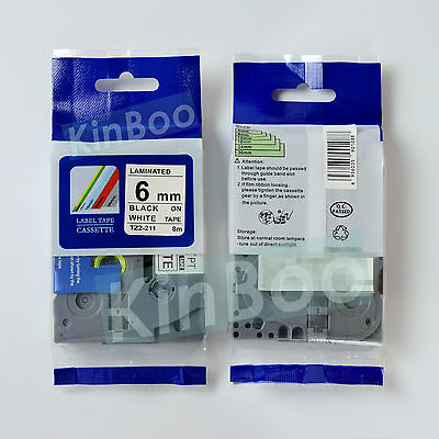 1 Pack Tape Label Compatible for Brother P-Touch TZ TZe 211 Black on White 6mm