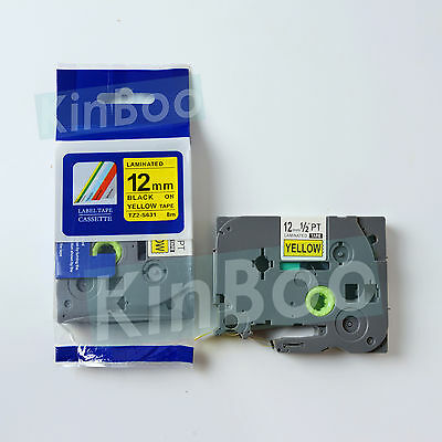 1 Pack Tape Label Compatible for Brother PTouch TZ TZe S631 Black on Yellow 12mm