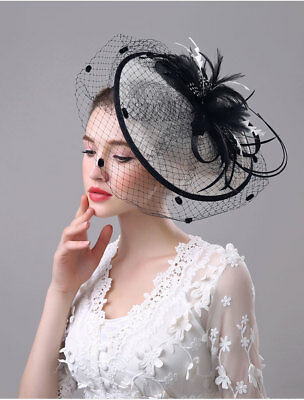 Vintage Women's Mesh Feather Hat Feather Party Weddings Hairband Day Royal New