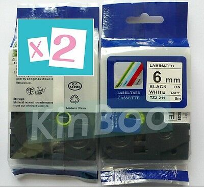 2 Pack Tape Label Compatible for Brother P-Touch TZ TZe 211 Black on White 6mm