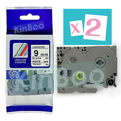 2 Pack Tape Label Compatible for Brother P-Touch TZ TZe 221 Black on White 9mm
