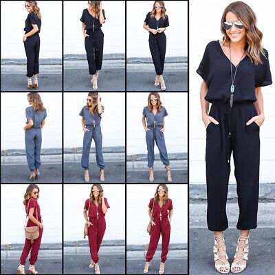 UK Womens Chiffon V-neck Holiday Long Playsuits Dress Trouser Jumpsuit SIZE 6-16
