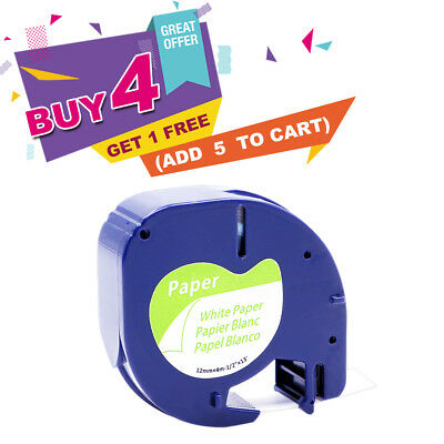 Compatible for DYMO LT 91330 Paper LetraTag Black on White Label Tape 1/2''