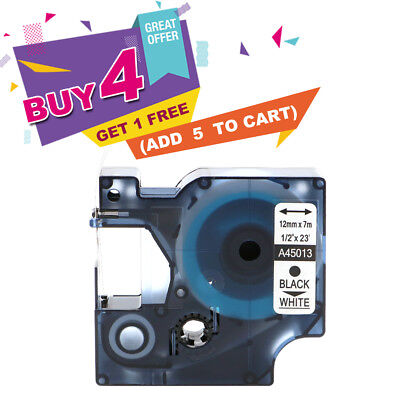 """1 x Black on White Label Tape Compatible for DYMO 45013 12mm 1/2"""" D1 S0720530"""