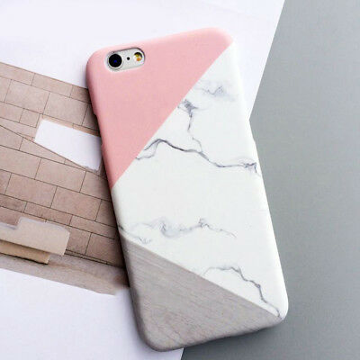Granite Marble Contrast Color PC Hard Phone Cover Case for iPhone Samsung Galaxy