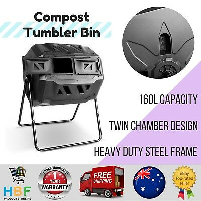 Compost Bin Tumbler Food Waste Composter Aerated Garden Recycling 160L Dual Twin