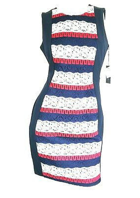 bd96228b6489 New Tommy Hilfiger Womens Sz 8 Striped Lace Sheath Dress Red White Blue  July 4 M
