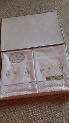 Boxed Set Of Vintage Crinoline Lady Embroidered Pillow Cases & Bolster Cover