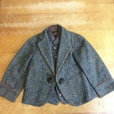 Wool Tweed Vintage 20s Boys 12-18 Month Embossed Metal Moon Button Vest & Jacket