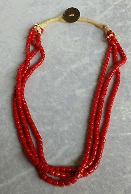 Old Indian tribal Naga glass trade bead necklace George VI coin coral red
