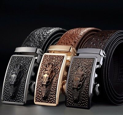 Men Leather Belt Automatic Metal Buckle Strap Crocodile Patern Fashion Belts Kit