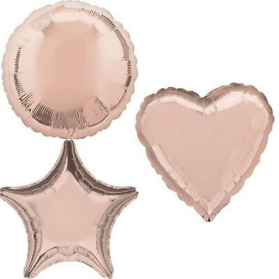 "Rose Gold Heart Star Circle 18"" Foil Balloon Helium Or Air Birthday Balloons"