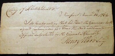 1762 Colonial Newport Rhode Island Manuscript Signed Governor's Commissions