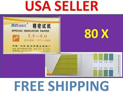 1 Pack / 80 strips of pH 5.5-9.0 Special Indicator Paper test Lab Water Soil