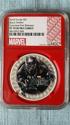 2018 Tuvalu BLACK PANTHER PF70 UC First Releases W/COA #391 Rare RED Core Holder
