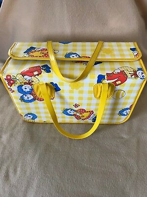 Vintage Raggedy Ann and Andy Hard sided Vinyl Diaper Bag with hinge closure