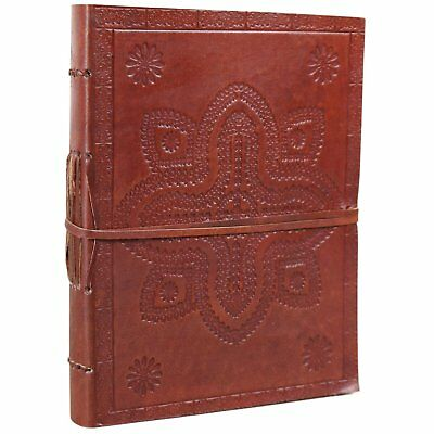 Stamped Floral Leather Journal Notebook Diary Blank Unlined