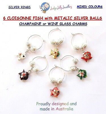 SET of 6 MULTI-COLOURED CLOISSONNE FISH CHARMS for CHAMPAGNE & WINE GLASSES