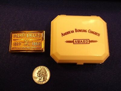 Rare N/M Vtg Trophy Belt Buckle & Box - 1967-1968 Merit Award Abc Bowling League