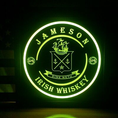 Jameson Irish Whiskey 12 x 12 Man Cave Multi color LED Sign led box with remote