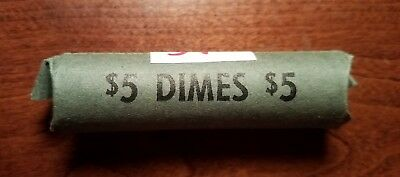unsearched silver dime roll (*see description*) (Lot #14)
