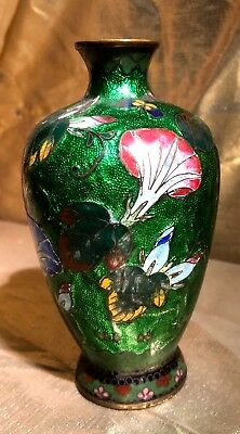 Antique Japanese Cloisonne Vase Enamel Green - Rare - AS IS