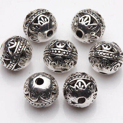 10/20Pcs Tibetan Silver Plated Round Loose Spacer Beads Jewelry Findings DIY 8mm
