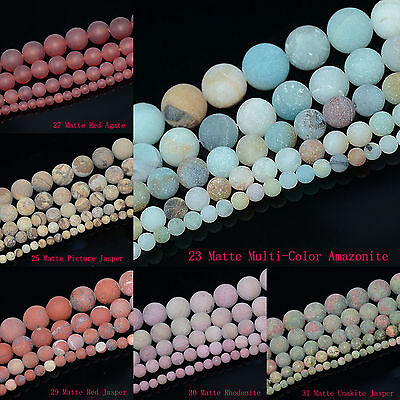 4mm 6mm 8mm 10mm Natural Frosted Matte Gemstones Round Loose Beads Jewelry 15""