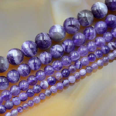 """Natural Purple Dream Lace Amethyst Loose Beads Strand 15.5"""" 4mm 5mm 6mm 8mm 10mm"""