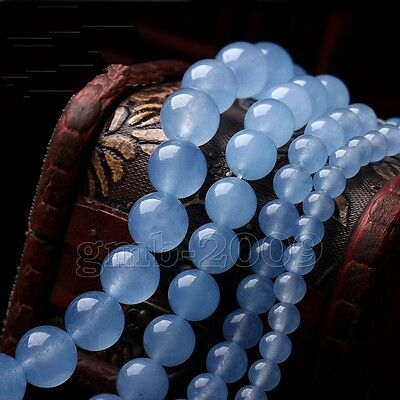 "4/6/8/10/12/14mm Natural Blue Chalcedony Round Gemstone Loose Beads 15"" AAA"