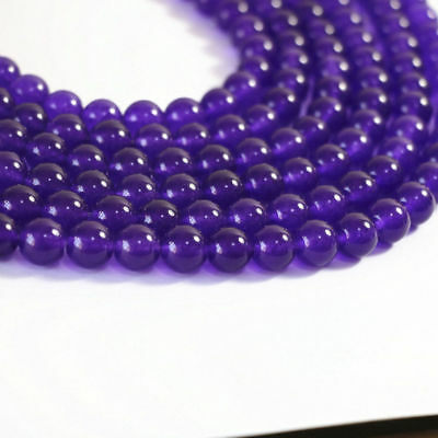 6-8 mm  Purple Jade Gemstone Round Loose Bead 15 ''