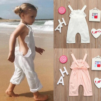 Toddler Kids Baby Overall Harem Straps Romper Ruffles Playsuit Clothes Outfits